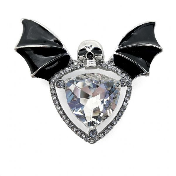 Rhodium Batwing Skull and Crystal Brooch/Pendant